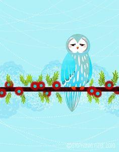 """""""owl in blue"""" by Stephanie Fizer"""