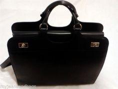 Franklin Covey Executive Leather Briefcase Business Case Shoulder Bag in Black