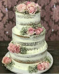 wedding cakes cakes elegant cakes rustic cakes simple cakes unique cakes with flowers Big Wedding Cakes, Wedding Cake Rustic, Rustic Cake, Beautiful Wedding Cakes, Wedding Cake Designs, Beautiful Cakes, Elegant Wedding, Diy Wedding, Bolo Nacked
