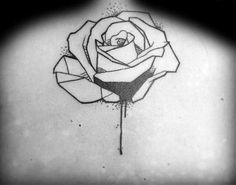 Dripping Paint Geometric Rose Upper Back Tattoos For Men