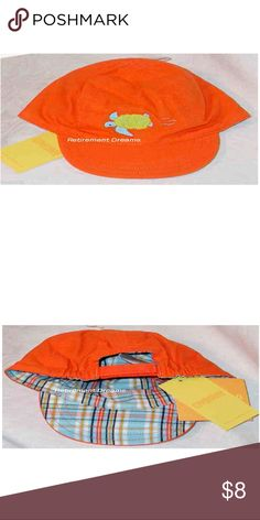 """GYMBOREE Hat Orange AT THE BEACH NB-6M Sea Turtle This is an orange Hat with a green & blue turtle on it.  This hat is an adjustable velcro back baseball cap style.  This hat is from the GYMBOREE line named """"AT THE BEACH"""" which is a boys layette line.  This hat is NEW in the original packaging. Gymboree Accessories Hats"""
