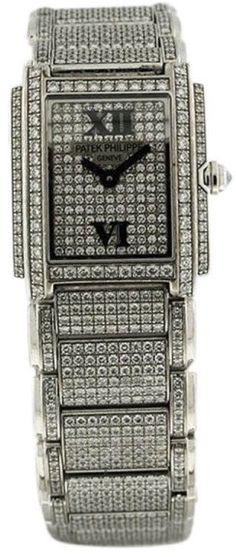 Patek Philippe Twenty-4 18K White Gold & Diamond Womens Watch