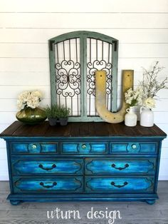 Sold colbalt blue painted dresser buffet tv stand by UTurnDesign Hand Painted Furniture, Refurbished Furniture, Paint Furniture, Unique Furniture, Shabby Chic Furniture, Furniture Projects, Furniture Makeover, Blue Distressed Furniture, Furniture Online