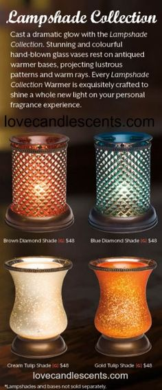 Cast a dramatic glow with the Scentsy Lampshade Collection.  Stunning and colorful hand-blown glass vases rest on antiqued warmer bases, projecting lustrous patterns and warm rays.  Available in Canada for $48 at http://www.lovecandlescents.com.  #scentsy #canada