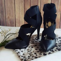 "LILIANA | Gladiator Stilettos Gorgeous pair of black faux-leather, ankle zip stilettos with black crossing straps & gold hardware!  **Like NEW!!**  Made by: Liliana Size: 8 Heel height: 4.5"" in. Liliana Shoes Heels"