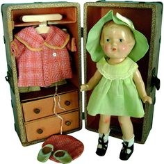 """Vintage ALL ORIG Arranbee Nancy Composition Doll in """"Nancy"""" Trunk Clothes Shoes"""