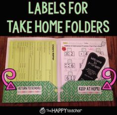 "Stick these labels in your students' take home / homework folders so there is no confusion on which papers should be returned to school and which papers should be kept at home!  **Print these labels on Avery5162 Labels**Actual size is 1 1/3"" by 4""Suggestions:Buy a class set of folders that are all the same color during the Back to School sales."