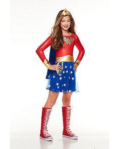 """tween"" sizes.... i like the long sleeves. $$ Kids Wonder Woman Dress Costume - DC Comics - Spirithalloween.com"
