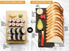 Take a look at all those carbs in sushi. Don't be fooled that it's the healthy option when it has hardly any filling and don't even think about eating fake crab meat.