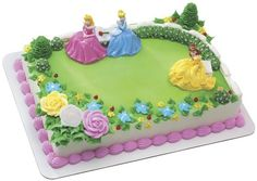 Disney Princess Garden Royalty DecoSet features Sleeping Beauty, Cinderella and Belle. A dream cake for girls' birthday parties.