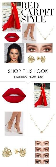 """✨My look in Festivals De Cannes✨"" by queen1323 ❤ liked on Polyvore featuring Lime Crime, Charlotte Russe, Gucci, Lagos, redcarpetstyle and OscarsThrowback"