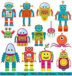Robots de Clip Art Clipart Robot Retro Party Clipart por PinkPueblo                                                                                                                                                                                 Más