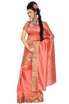 c1873526b9e04f Apparel: Peach Pink Art #Silk Saree #Sari fabric India Golden Border - Buy