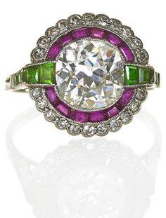 EARLY ART DECO DIAMOND AND GEMSTONE PLATINUM RING