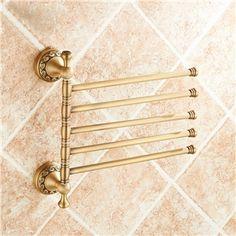 European Retro Bathroom Products Bathroom Accessories Copper Art Carving Pattern Rotate Five-bar Towel Bar
