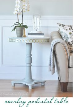 pedestal table makeover with Overlays? These are so cool. Check out the post.