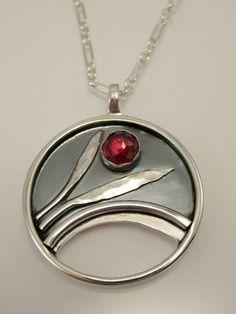 Sterling Silver Garnet Necklace - Rose Cut Garnet Necklace - Bridge of Flowers Inspired Pendant Metal Clay Jewelry, Enamel Jewelry, Pendant Jewelry, Jewelry Art, Sterling Silver Jewelry, Jewelry Design, Artisan Jewelry, Handmade Jewelry, Garnet Jewelry