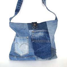 Crossbody tote bag Recycled jean bag Vegan denim by Sisoibags