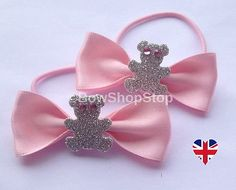 #Satin pink ribbon & sparkling teddy bear diamante eyed hair bow #elastic #bobble,  View more on the LINK: http://www.zeppy.io/product/gb/2/222340919654/