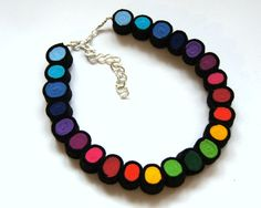 #Rainbow in nero #felted #necklace