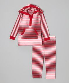 Another great find on #zulily! Red & White Stripe Hooded Top & Pants - Infant, Toddler & Kids by Leveret #zulilyfinds