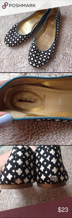 J. Crew classic ballet flats J. Crew classic ballet flats, black and white diamond pattern with blue trim, size 9, worn but still in good condition, small scuff on back of right shoe, made in Italy, perfect spring and summer every day shoe!!!                                                                🛍NO HOLDS 🛍NO TRADES 🛍REASONABLE OFFERS CONSIDERED (if you offer 50% or more off my asking price that is insulting) 🛍All items are packaged with care and shipped out in 1 day 🛍Please…