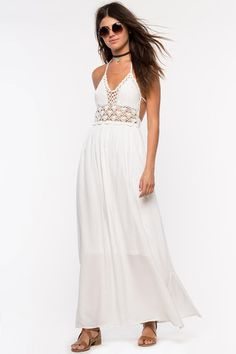 Womens Bohemian Street style: Halter neck, white crochet Revel maxi dress. Front view.