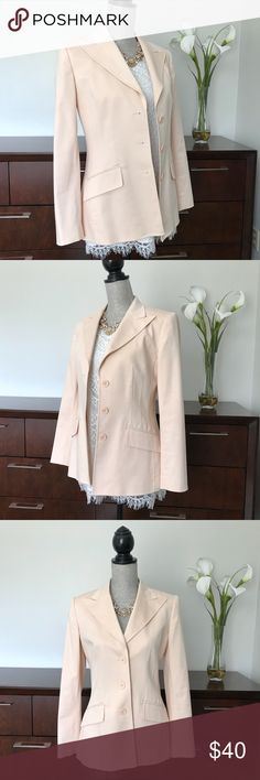 Anne Klein Blush Pink Blazer Jacket Anne Klein Blush Pink Blazer Jacket 60% cotton 35% rayon 5% spandex; Lining 100% polyester  Excellent condition and only flaw is a tiny mark on the collar as noted in the last picture; however it's not noticeable during wear and definitely doesn't prevent me from sporting this beautiful piece! Anne Klein Jackets & Coats Blazers