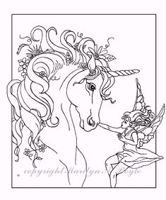 ADULT COLORING PAGES Set Of Five Digital Downloads Fantasy Unicorns Fairy