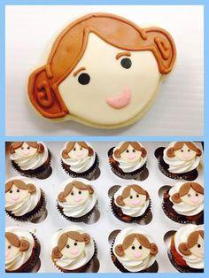 Star Wars Princess Leia cookies and cupcakes.