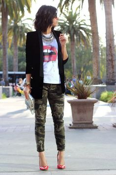 Camo is a current trend so wear it like this!! Fitted pants with a great blazer and vintage T is fabulous!!