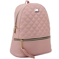 Copi Women s Simple Design Fashion Quilted Casual Backpacks Pink Casual  Backpacks 2b2799208c7ce