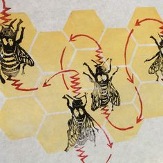 Dancing linocut  honeybees! They relate the distance & directions to tasty  pollen through waggling and loops to others in the hiv