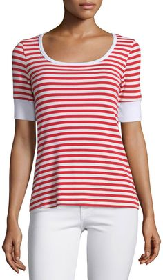 Love the stripes and the sleeves. FRAME DENIM Le Boatneck Striped Tee, Red Stripe