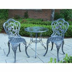 Oakland Living 3205-AP Hummingbird Outdoor Bistro Set by Oakland Living. $316.00. Finish: Antique Pewter. Brass and stainless steel assembly hardware ensure sturdiness, durability and security for years. Set includes 1 table and 2 chairs. Finish provides a long lasting, beautiful finish that will maintain it's appearance for years to come. High-grade polyester powder coat finish. Finish:Antique Pewter The Oakland Hummingbird Collection combines cute hummingbirds a...