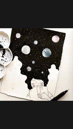 Space Drawings, Cool Art Drawings, Art Drawings Sketches, Easy Drawings, Easy Sketches To Draw, Galaxy Drawings, Tumblr Drawings, Space Artwork, Tumblr Art