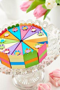 Поделки из бумаги своими руками: видео, 72 фото, мастер-классы  http://happymodern.ru/podelki-iz-bumagi-svoimi-rukami-video-72-foto-master-klassy/ Торт из картона с подарочками для гостей