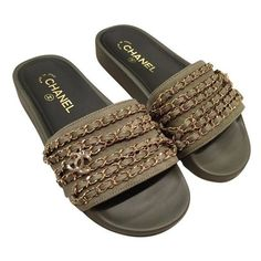 75150a4d30f3c These Chanel Green Khaki Gold Chain Iconic Class Cc Mule Slide Flat 36  Sandals Size US 6 Regular (M