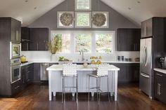 FarmHouseUrban - kitchens - gray walls, dark gray walls, cathedral ceiling, kitchen cathedral ceiling, cathedral ceiling kitchen, lotus flow...