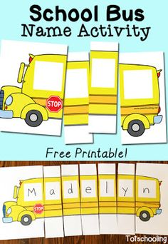 Name Activity with Free Printable FREE School Bus Name Puzzle. Perfect for back to school or anytime.FREE School Bus Name Puzzle. Perfect for back to school or anytime. Preschool Names, Preschool Classroom, Preschool Learning, Classroom Activities, In Kindergarten, Preschool Activities, Toddler Preschool, Teaching Kids, Preschool Name Recognition