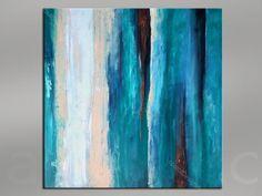 ABSTRACT Malarstwo- niebieski, turkusowy, biały, brązowy, ivory- oryginalny obraz na płótnie 40x40 Contemporary Art Absract Modern Art