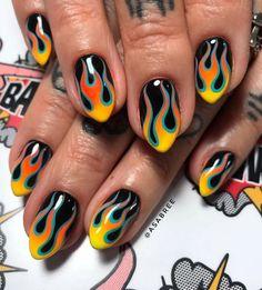 60 Best Colorful Nail Art Designs - Shake that bacon Punk Nails, Edgy Nails, Stylish Nails, Swag Nails, Edgy Nail Art, Grunge Nails, Nail Design Stiletto, Nail Design Glitter, Cute Acrylic Nails