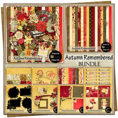 Autumn Remembered {Bundle} Customer Appreciation, Free Digital Scrapbooking, Project 365, Grab Bags, Vintage Ephemera, Journal Cards, Flourish, Word Art, Swirls