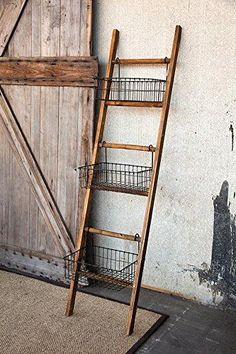 Farmhouse Shelf Ladder with Wire Baskets: