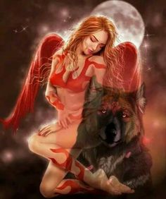Wolf Images, Wolf Pictures, Fantasy Wolf, Dark Fantasy Art, Red Riding Hood Wolf, Wolves And Women, Vampire Pictures, Angel Artwork, Wolf Love
