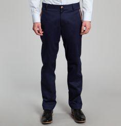 Pantalon Calico Bleu Marine Cavalier Bleu en vente chez L'Exception