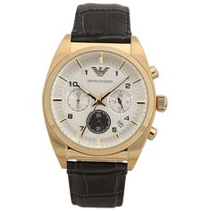 Emporio Armani Mens AR0372 Analog Leather Quartz Watch