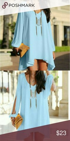 Dress Beautiful baby blue color chiffon mini skaters dress long sleeve with a cute slit from shoulder to sleeve. Dresses Mini