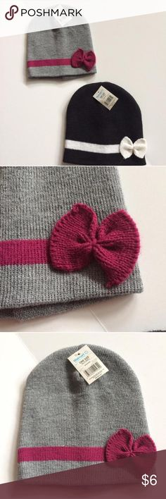 NWT 2 bow beanies NWT 2 bow beanies - one in gray & purple, other in black & white Accessories