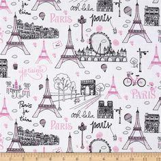 Paris 2015 Fabric by Timeless Treasures Parisian Monuments Landmarks GLITTER in Pink Black on White Tour Eiffel, Paris Torre Eiffel, Paris Party, Paris Theme, Dark Purple Background, Paris Landmarks, Paris Images, Paris Pics, Quilting Classes